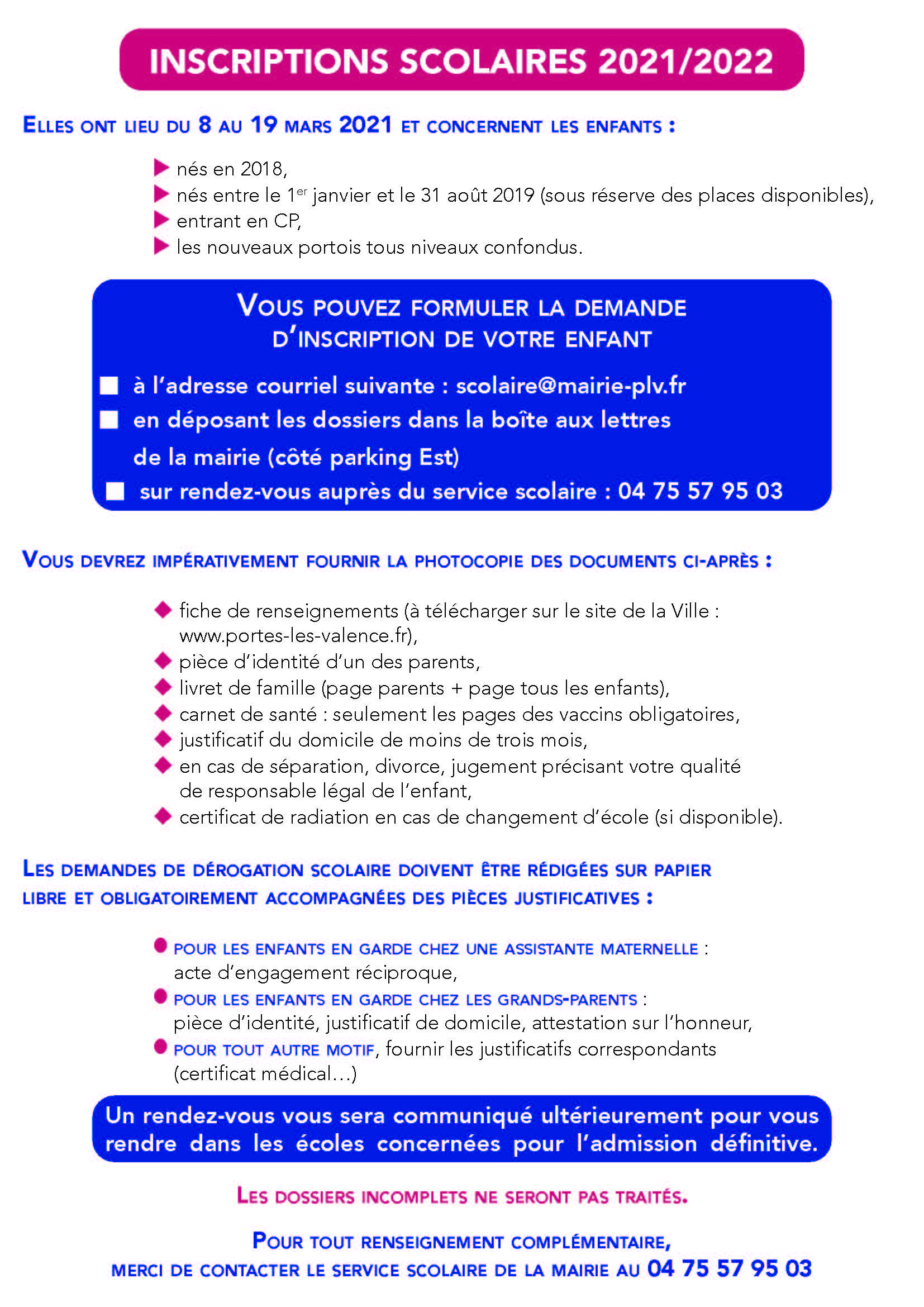 Notice explicative - inscriptions scolaires